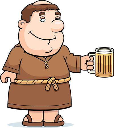 A happy cartoon friar with a mug of beer. Çizim