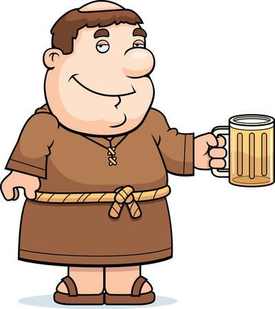 Een gelukkig cartoon monnik met een mok bier. Stock Illustratie