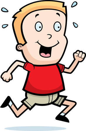 A happy cartoon boy running and smiling. Illustration
