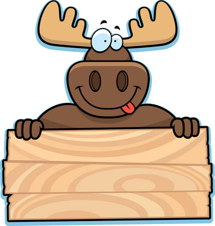 A happy cartoon moose with a sign.