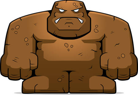 A cartoon mud golem with an angry expression. 向量圖像