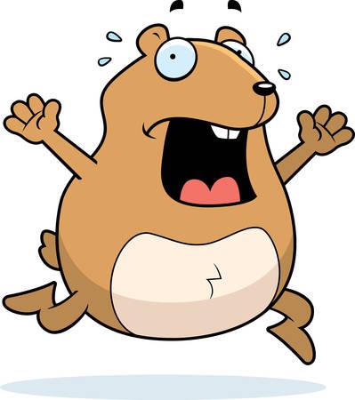 A cartoon hamster running in a panic. Ilustração