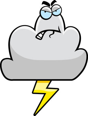 A cartoon storm cloud with an angry expression. Vector