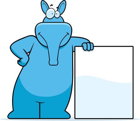 A happy cartoon aardvark leaning on a sign. Vector
