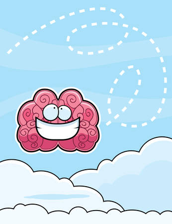 A happy cartoon brain floating in the clouds. Illustration