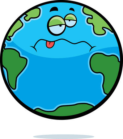 A cartoon planet Earth with a sick expression. Vector