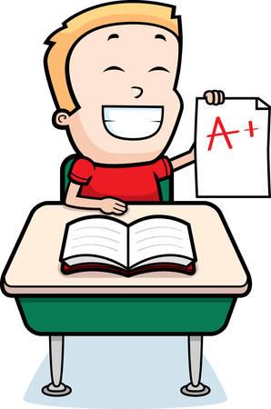 good: A happy cartoon boy sitting at a desk in school. Illustration