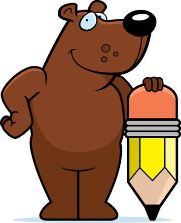 A happy cartoon bear with a pencil.