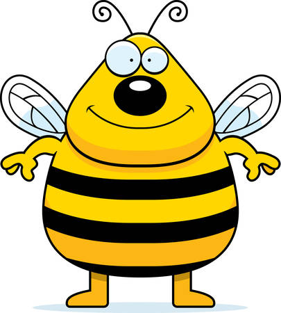 A happy cartoon bee standing and smiling.