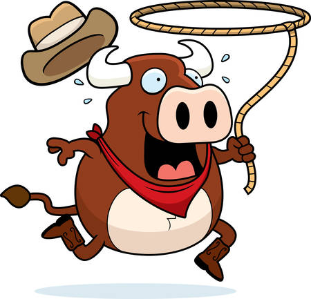 A happy cartoon rodeo bull with a lasso. Illustration