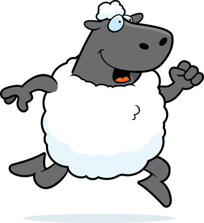 幸せな漫画羊を実行していると笑みを浮かべてします。