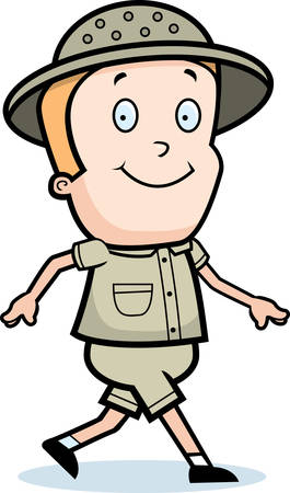 A happy cartoon explorer walking and smiling.