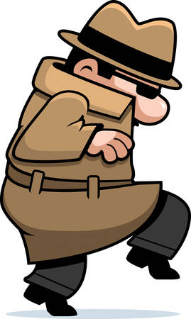 Een cartoon spion in een jas rondsluipen.