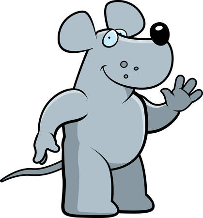 greet: A happy cartoon rat waving and smiling.