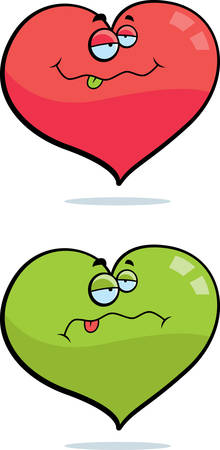 A cartoon heart with a sick expression. Vector