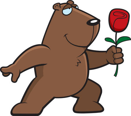 A happy cartoon groundhog with a flower. Vector