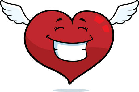 A cartoon flying heart smiling and happy.