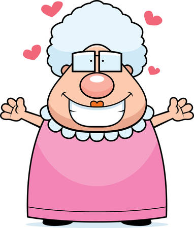 A happy cartoon grandma ready to give a hug.