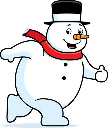 A happy cartoon snowman walking and smiling.