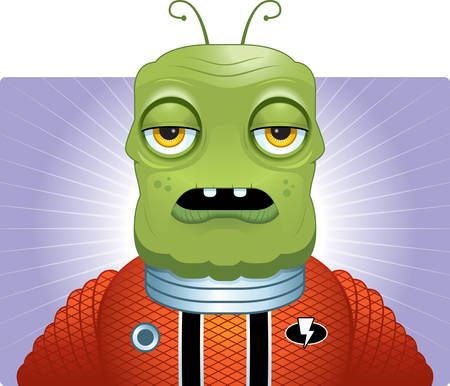 spacesuit: A cartoon green alien wearing a spacesuit.