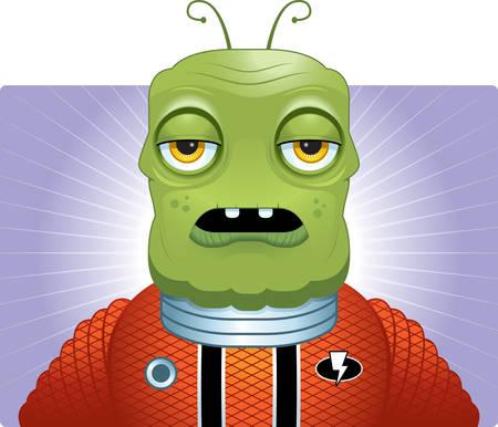 Een cartoon groene vreemde dragen van een ruimtepak.