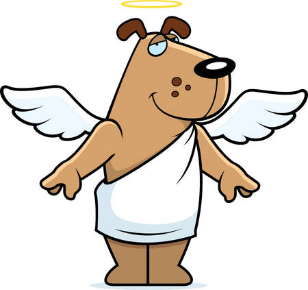 A happy cartoon angel dog with wings and a halo.