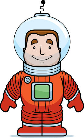 A happy cartoon astronaut standing and smiling.