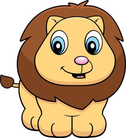 lion baby: Un cartone animato felice bambino leone in piedi e sorridente. Vettoriali