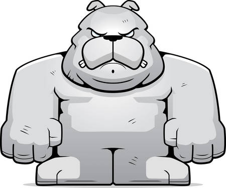 A cartoon big bulldog with an angry expression. Vector