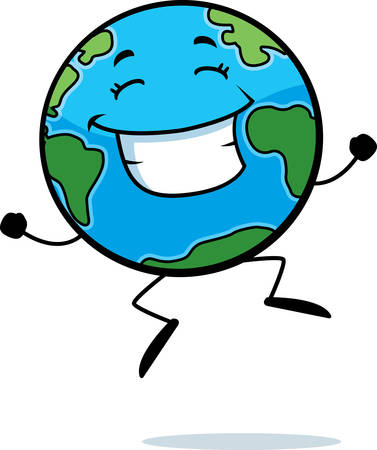 A happy cartoon Earth jumping and smiling.