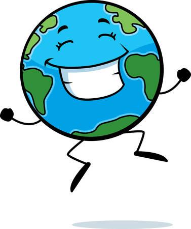 Een happy cartoon aarde springen en glimlachen.