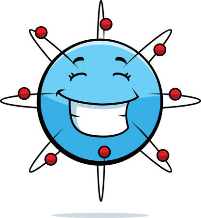 A cartoon blue atom happy and smiling. Illustration