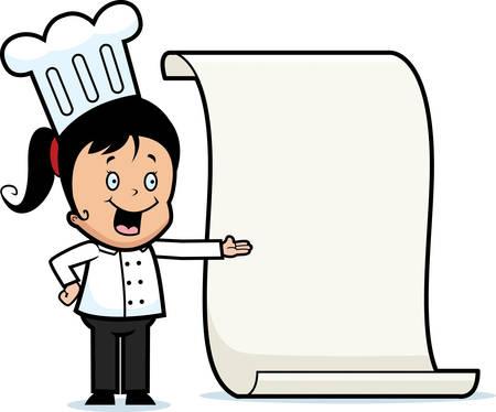 A cartoon child chef with a menu. Zdjęcie Seryjne - 26468627