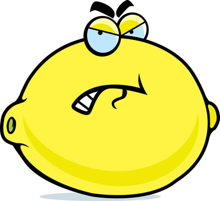 A cartoon lemon with an angry expression. Vettoriali