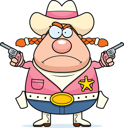 A cartoon sheriff with an angry expression.