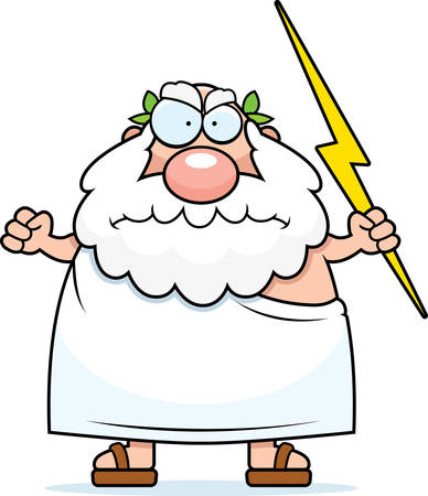 vengeful: A cartoon Greek god with an angry expression.