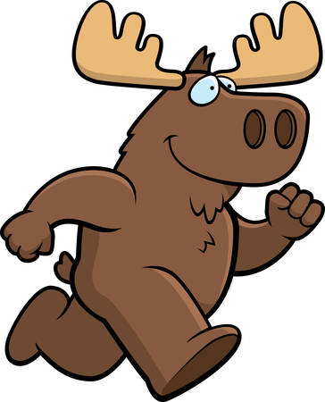 A happy cartoon moose running and smiling.