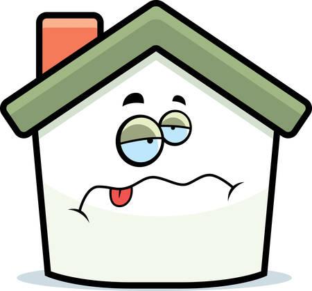 Een cartoon huis met een zieke expressie.