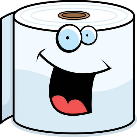 A cartoon toilet paper roll smiling and happy. Vector