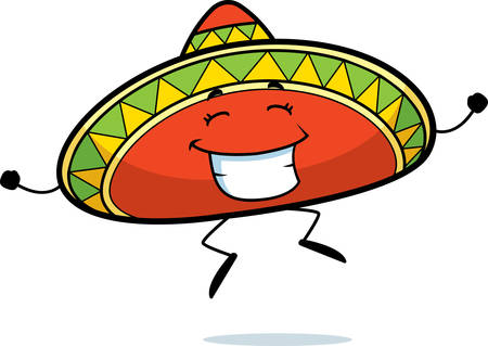 Een happy cartoon sombrero springen en glimlachen.