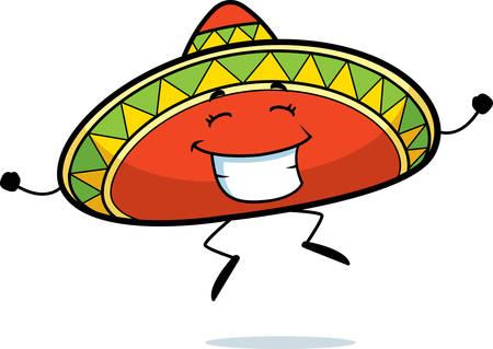 mexican sombrero: Un felice cartone animato che salta sombrero e sorridente. Vettoriali