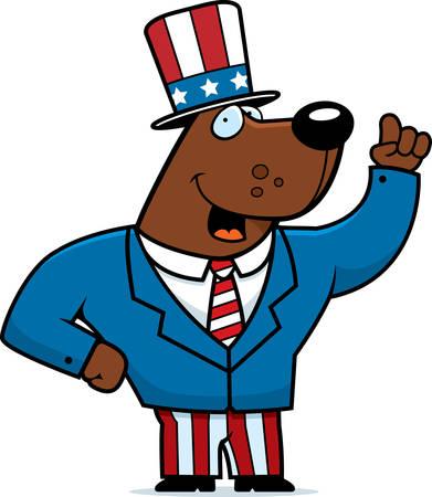 A happy cartoon bear dressed in a patriotic suit.