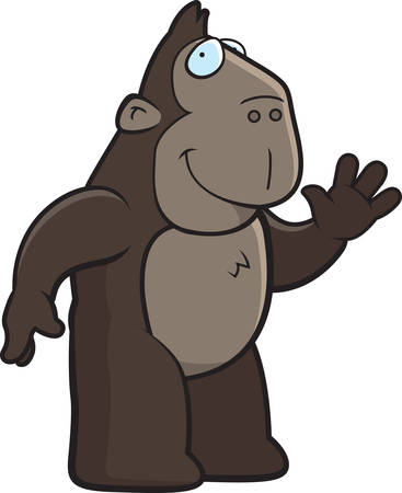 greet: A happy cartoon ape waving and smiling.