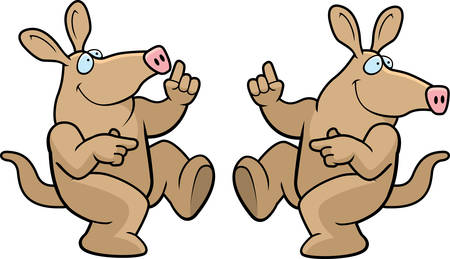 A happy cartoon aardvark dancing and smiling. Vector