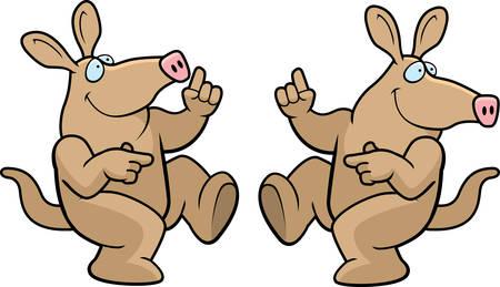 aardvark: A happy cartoon aardvark dancing and smiling.
