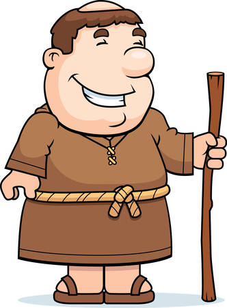 friar: A happy cartoon friar standing and smiling.
