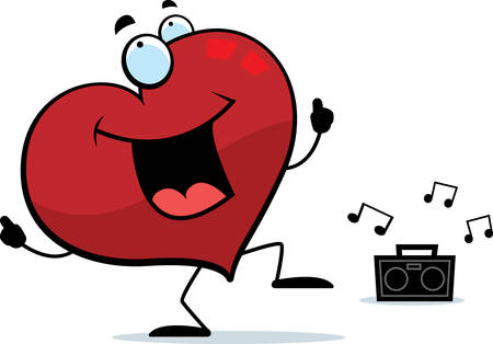 A happy cartoon heart dancing and smiling.