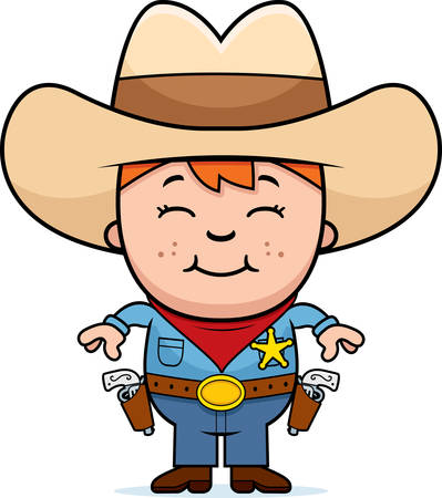 A happy cartoon kid sheriff standing and smiling. Vector