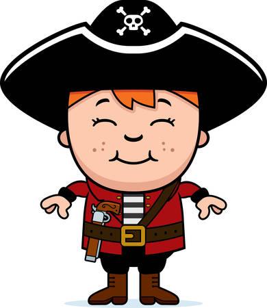 幸せな漫画子供海賊立ち、笑みを浮かべてします。