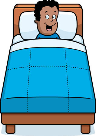 A happy cartoon child ready for bedtime. Illustration